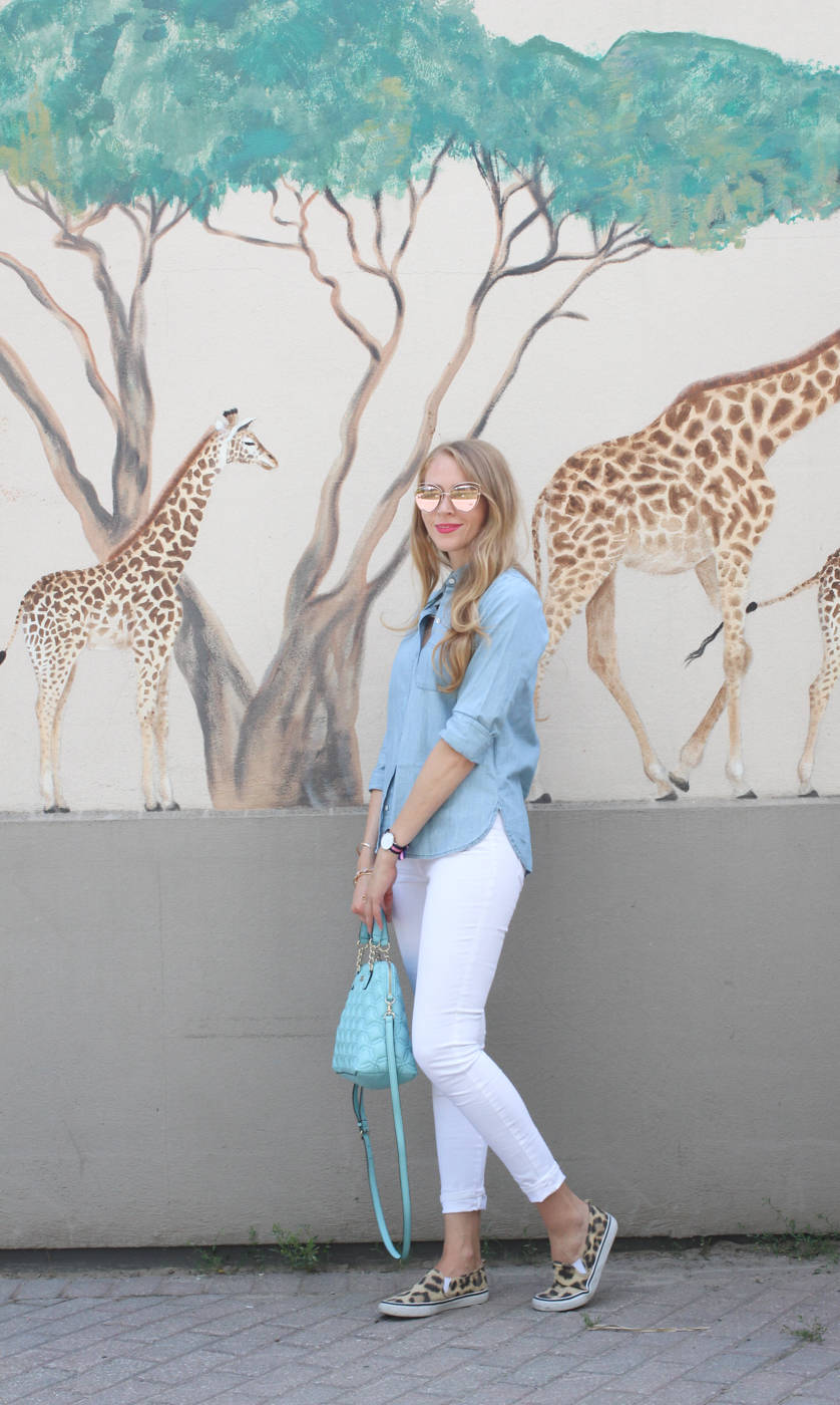 old navy white jeans and chambray top