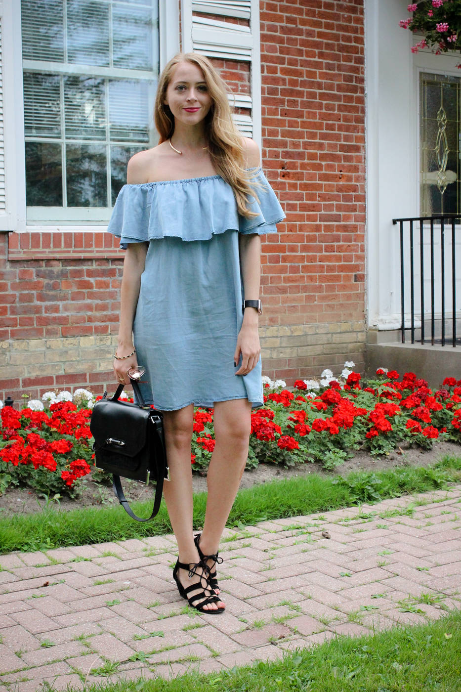 zara chambray ruffle dress outfit (3 of 8)