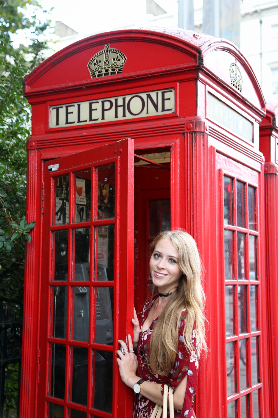 red phone booth in london tourist photo