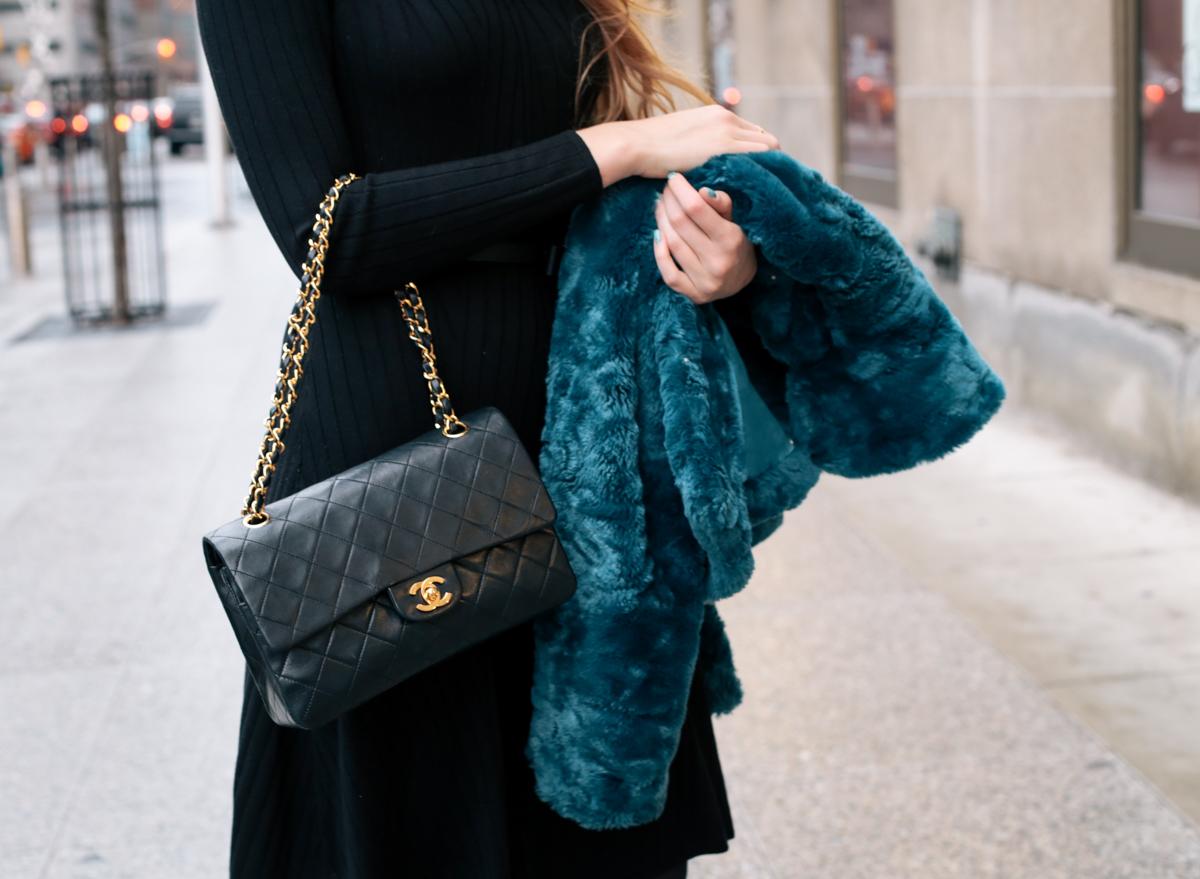 teal faux fur coat (3 of 8)