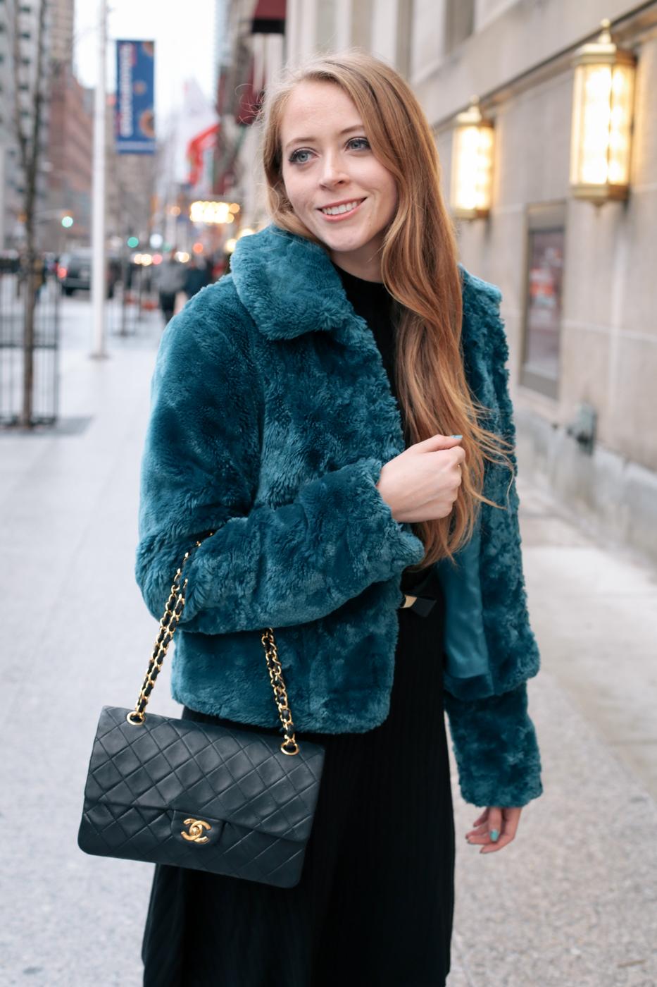 teal faux fur coat (4 of 8)