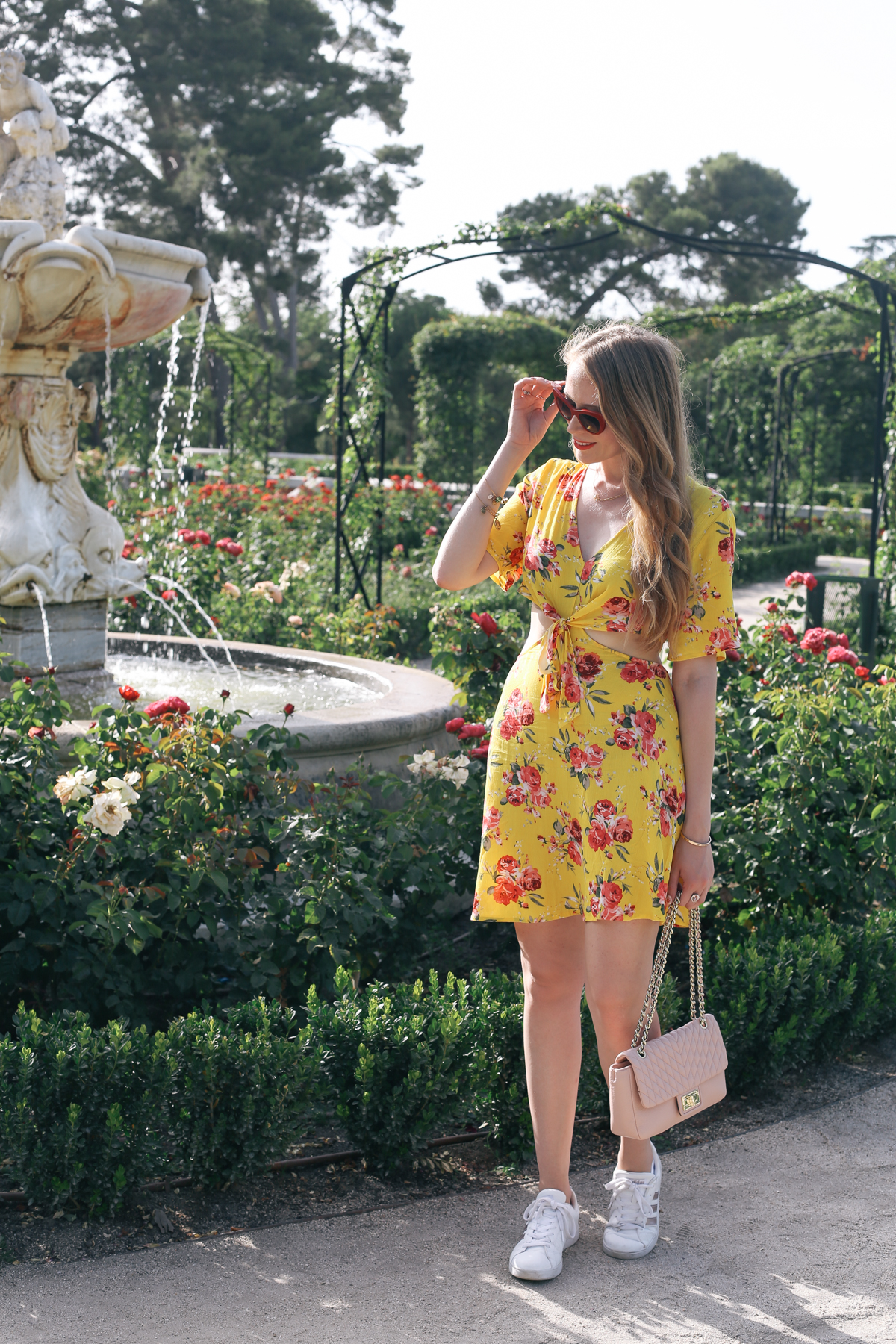 yellow rose print dress shein (1 of 4)