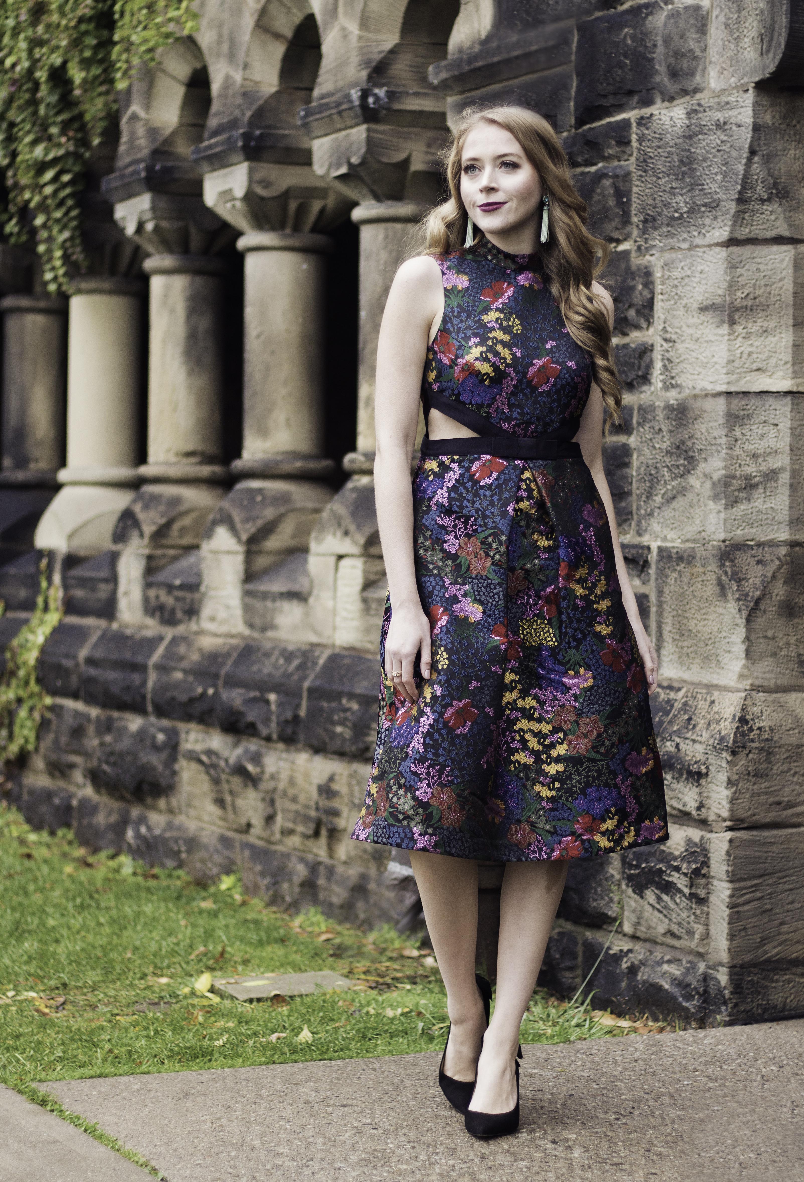 erdem for h&m floral jacquard dress