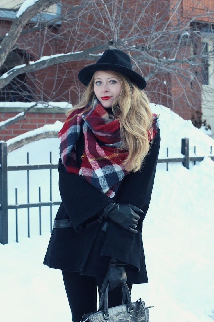 1zara red plaid scarf black mackage coat