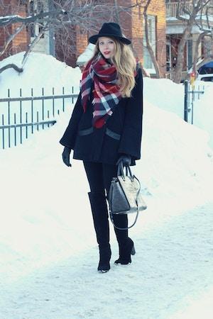2mackage coat zara red plaid scarf