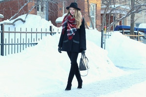 3zara red plaid scarf mackage coat