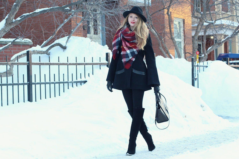 Zara red plaid scarf