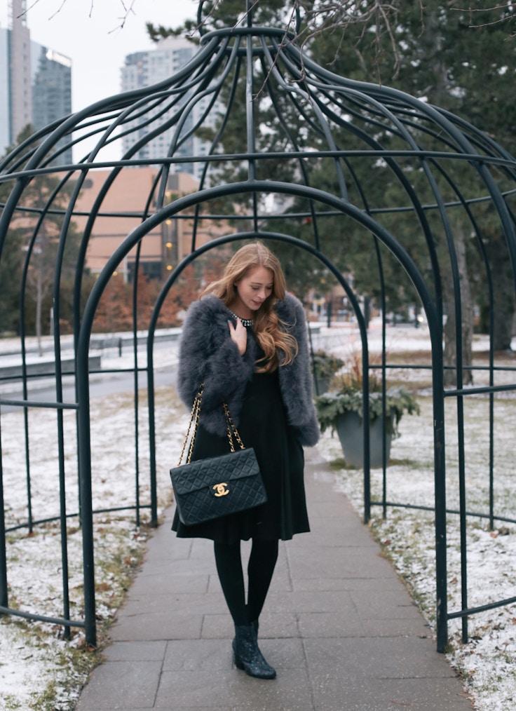 Chanel Jumbo bag feather coat (1 of 10)