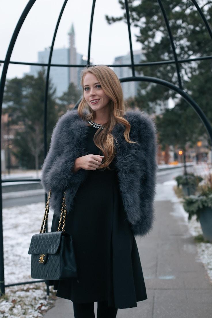 Chanel Jumbo bag feather coat (5 of 10)