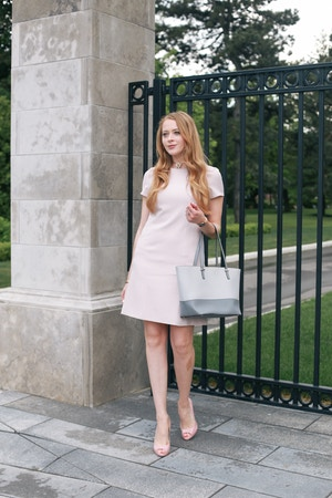 Grayes pink dress office outfit (1 of 7)