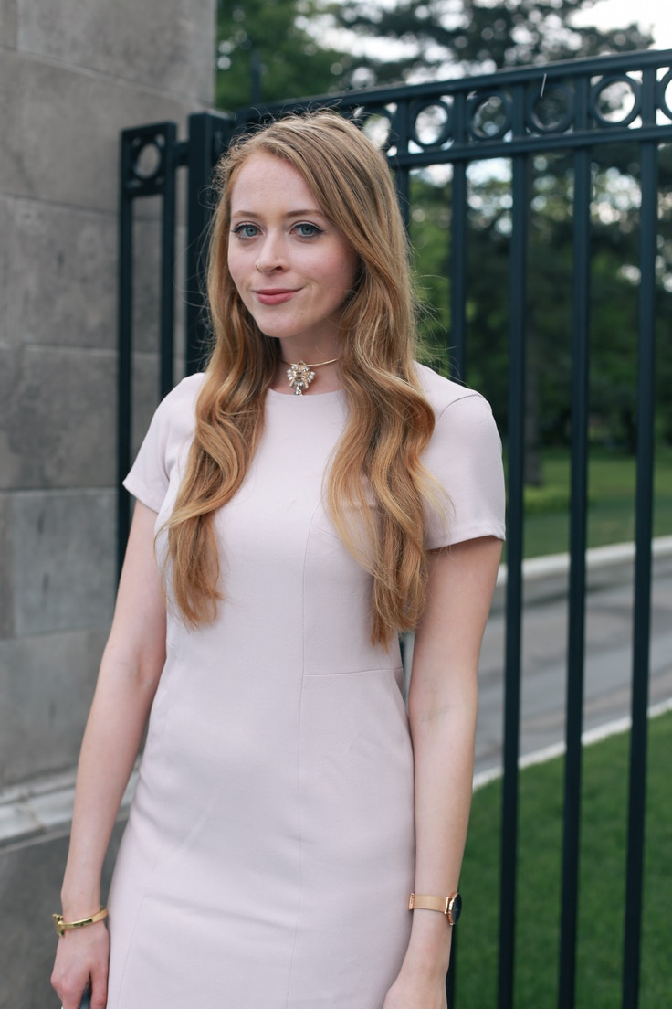 Grayes pink dress office outfit (6 of 7)