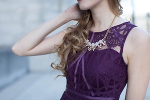 986f8f9f851 This purple lace cocktail dress is so elegant and versatile. I love the  intricate lace pattern