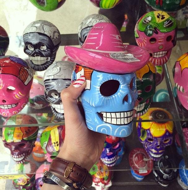 mexican pottery skull