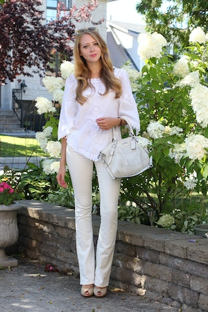all white jeans and blouse