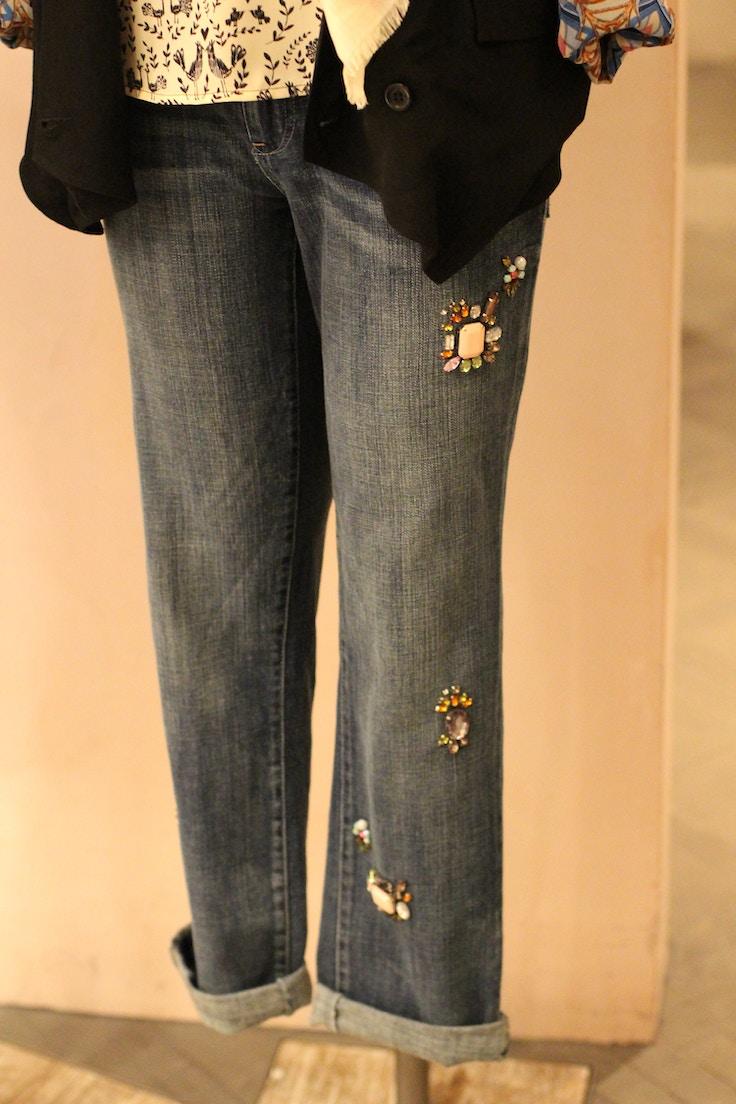 anthropologie jewelled denim jeans