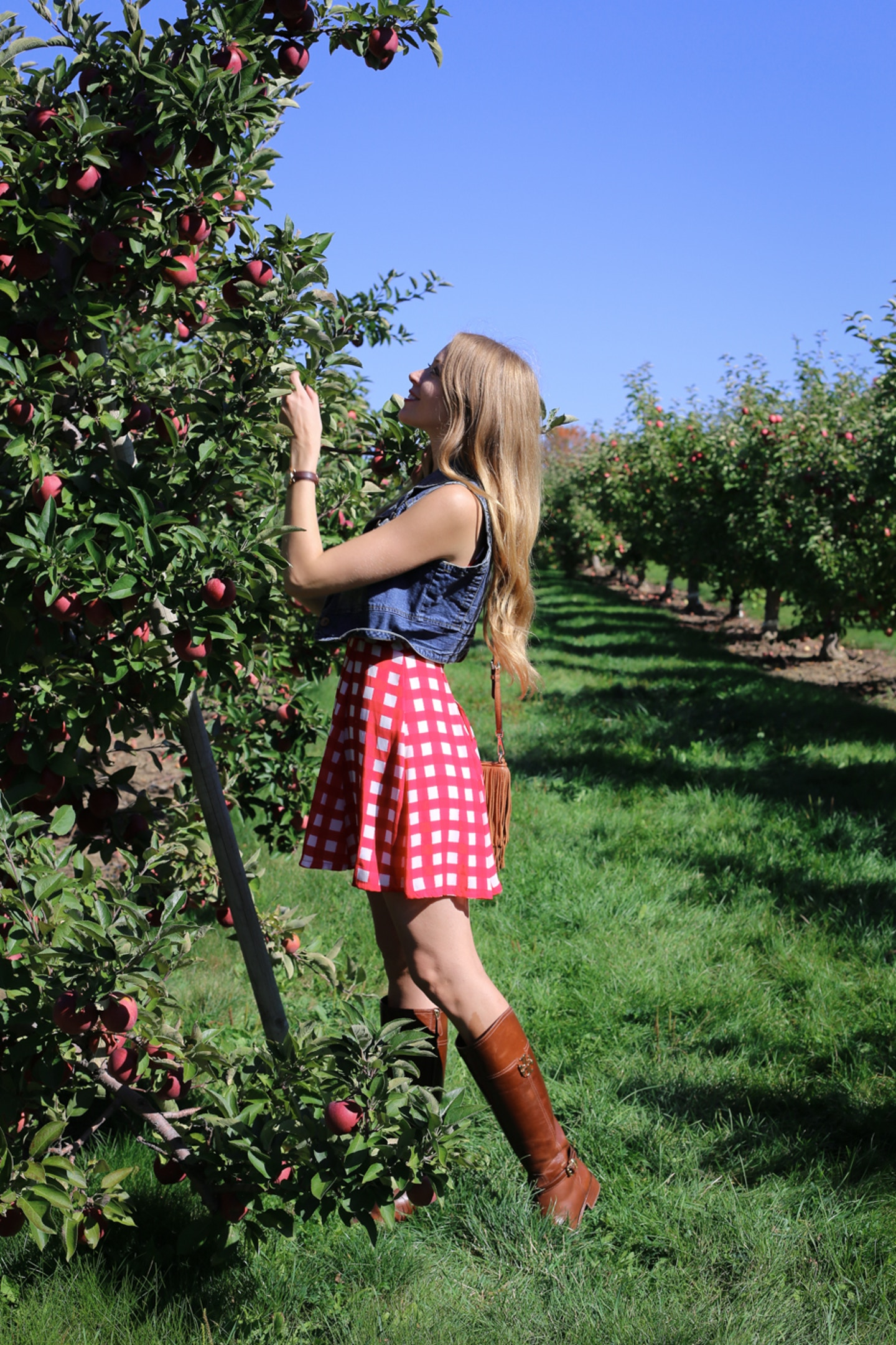apple picking outfit red gingham denim vest
