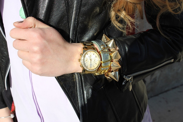 arm party gold studs leather jacket