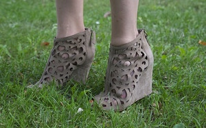ash laser cut suede booties