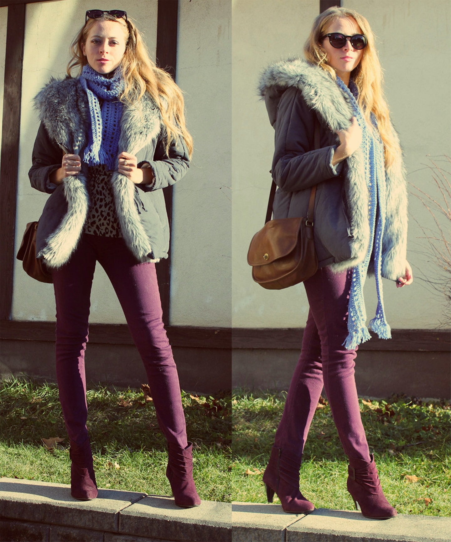 How to wear coloured jeans in winter