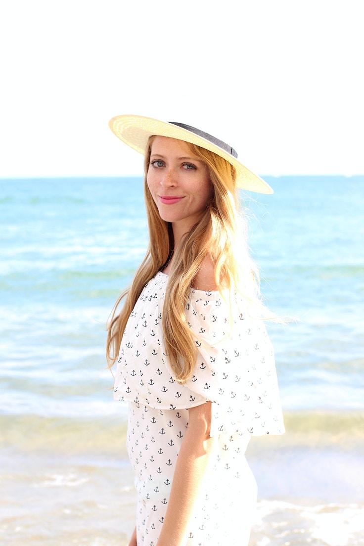 beach outfit anchor print dress