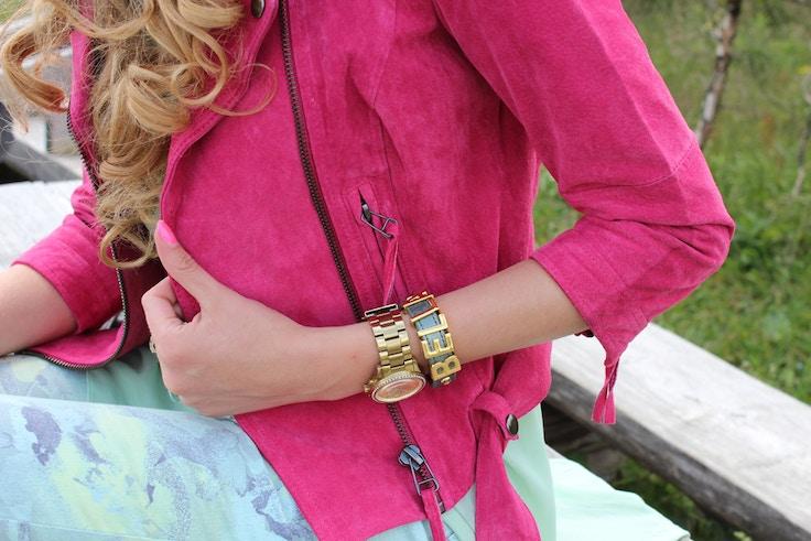 bershka hot pink suede jacket bgbg bracelet