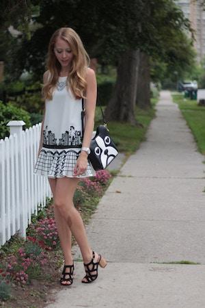 black and white grid print dress
