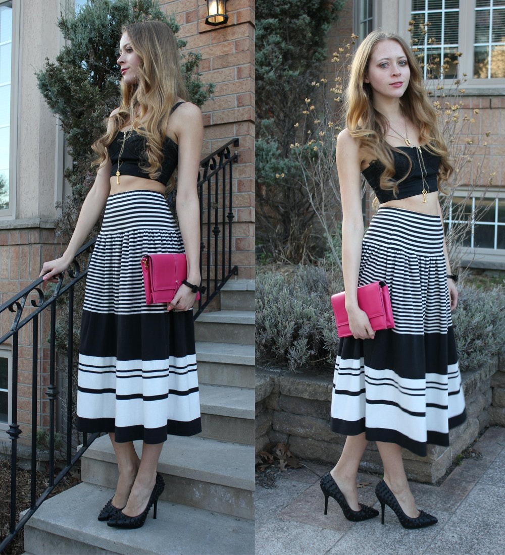 How to long wear striped maxi skirt
