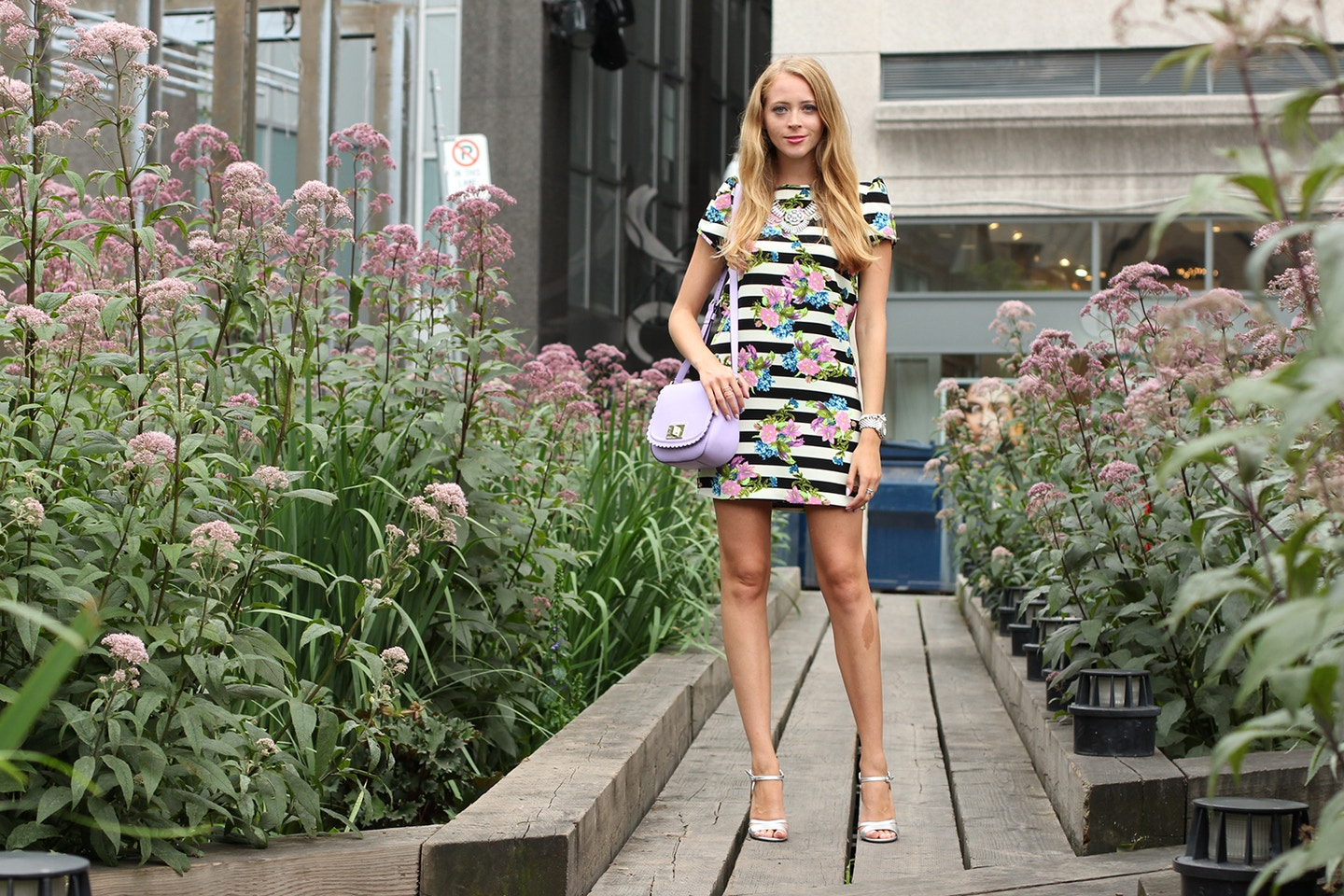 Black and white striped floral dress + Anthropologie personal styling event