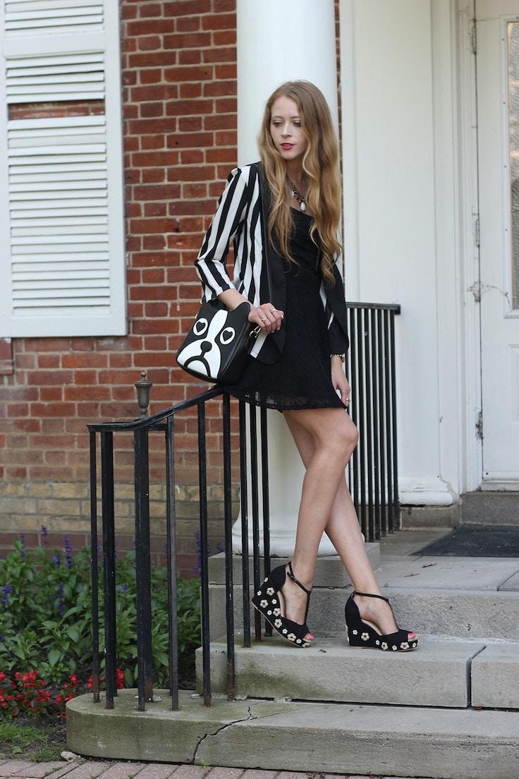 black and white stripes blazer