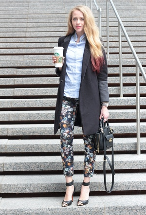 black coat floral leggings zara mini pashli target