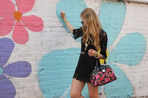 black lace dress floral graffiti