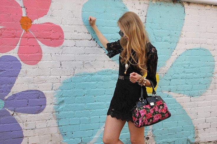 black lace dress floral graffiti