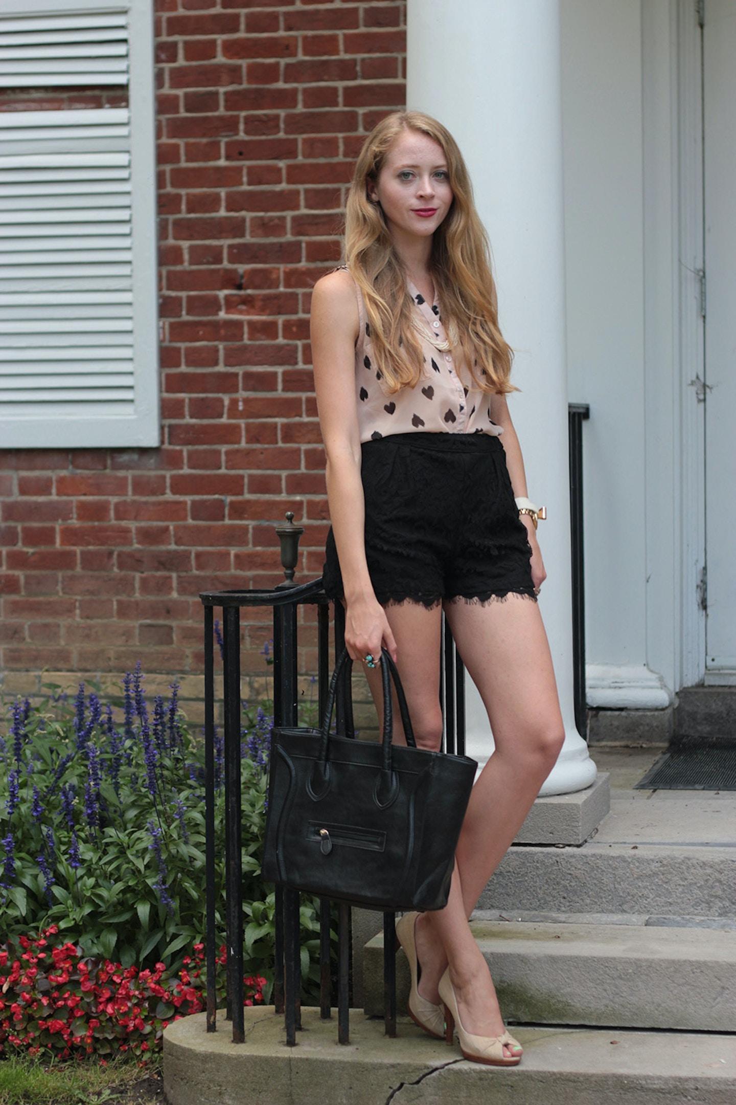Black lace shorts + Celine tote giveaway!