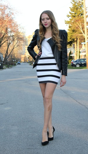 black leather jacket and stripe skirt