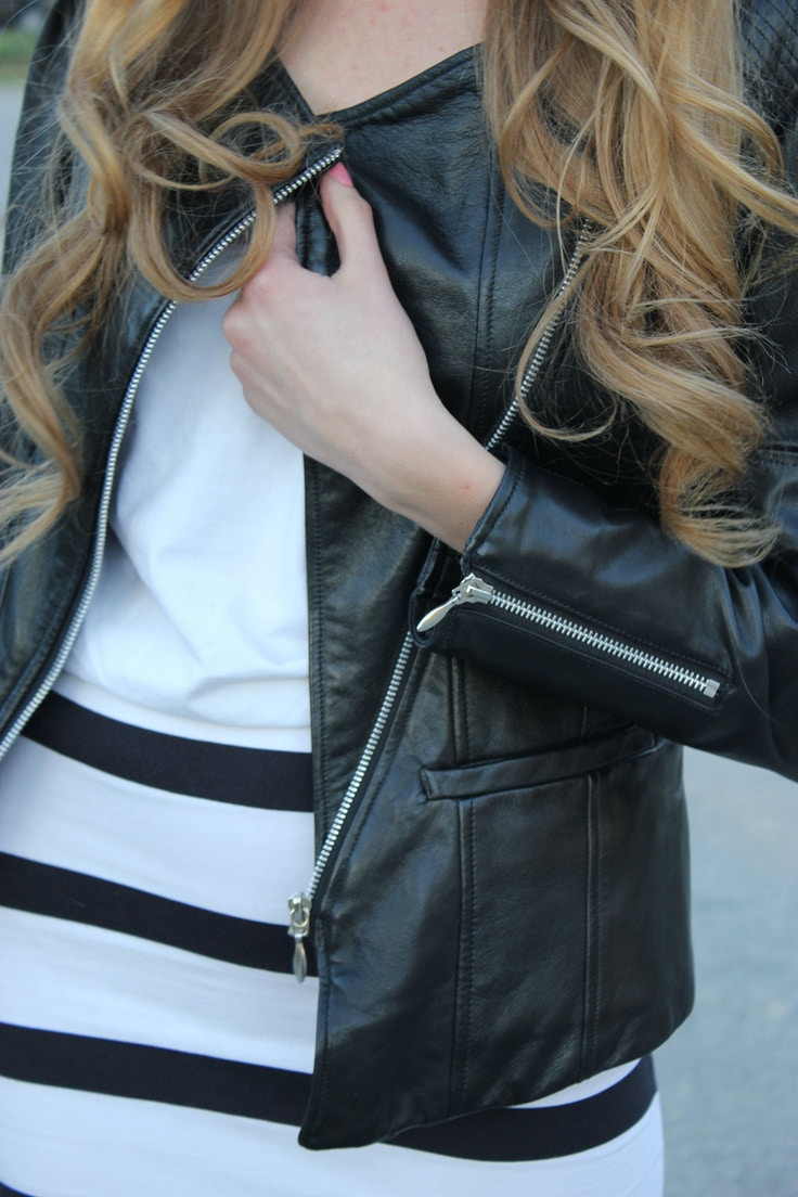 black leather jacket and stripes