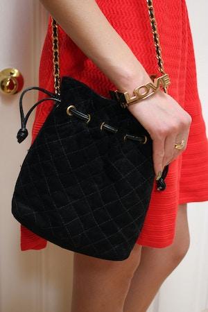 black quilted bag love bracelet