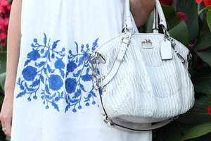 blue and white dress coach bag