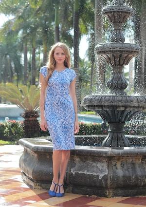 blue and white midi dress