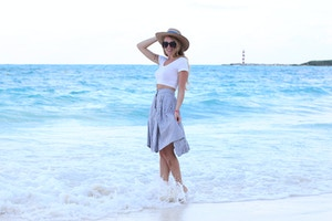 blue and white striped skirt zara
