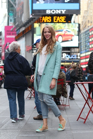 blue coat and keds sneakers