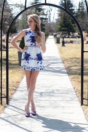 blue floral garden dress
