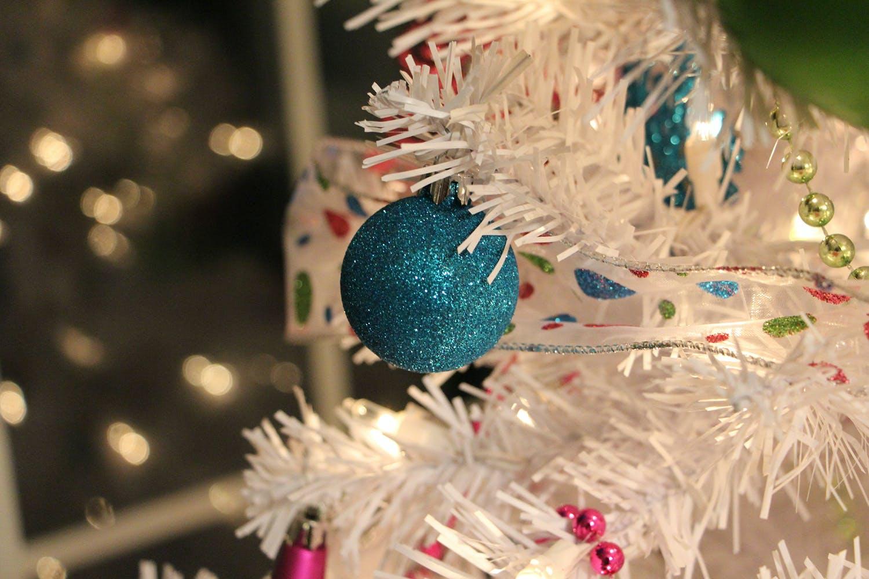 Kitschy white christmas tree