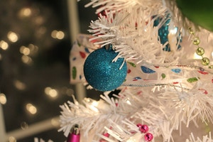 blue glitter christmas tree ornament