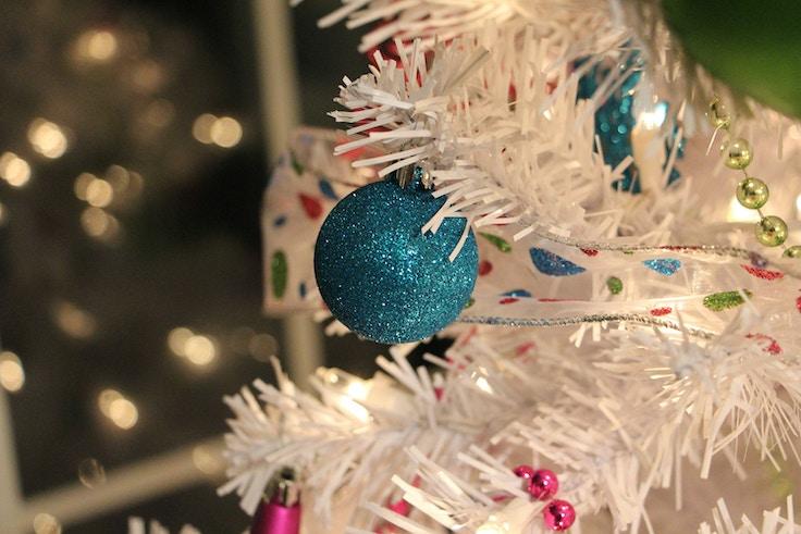 blue glitter christmas tree ornament
