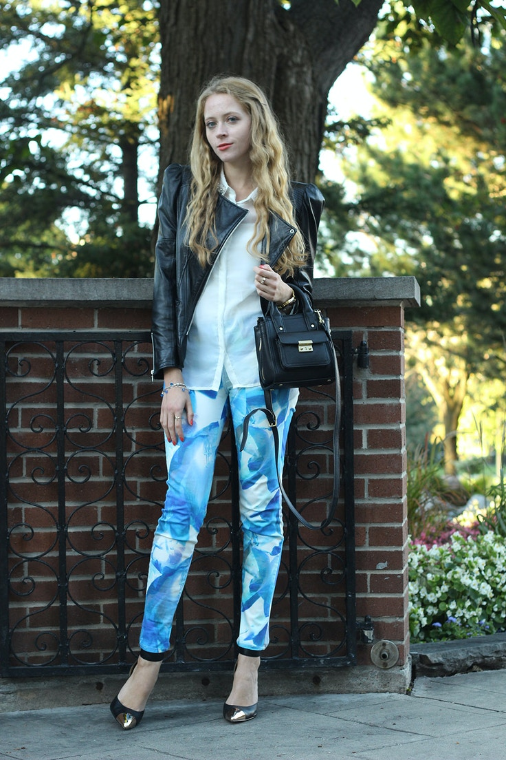 blue printed j brand jeans