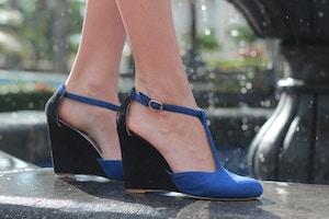 blue tstrap wedge sandal