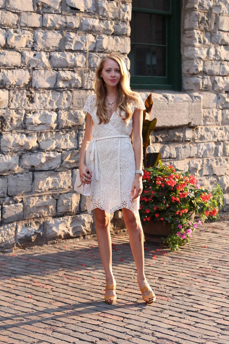 bohemian white lace wrap dress