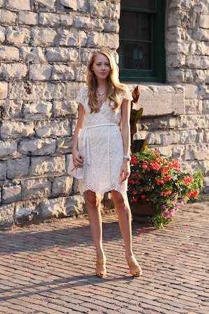 bohemian white lace wrap dress