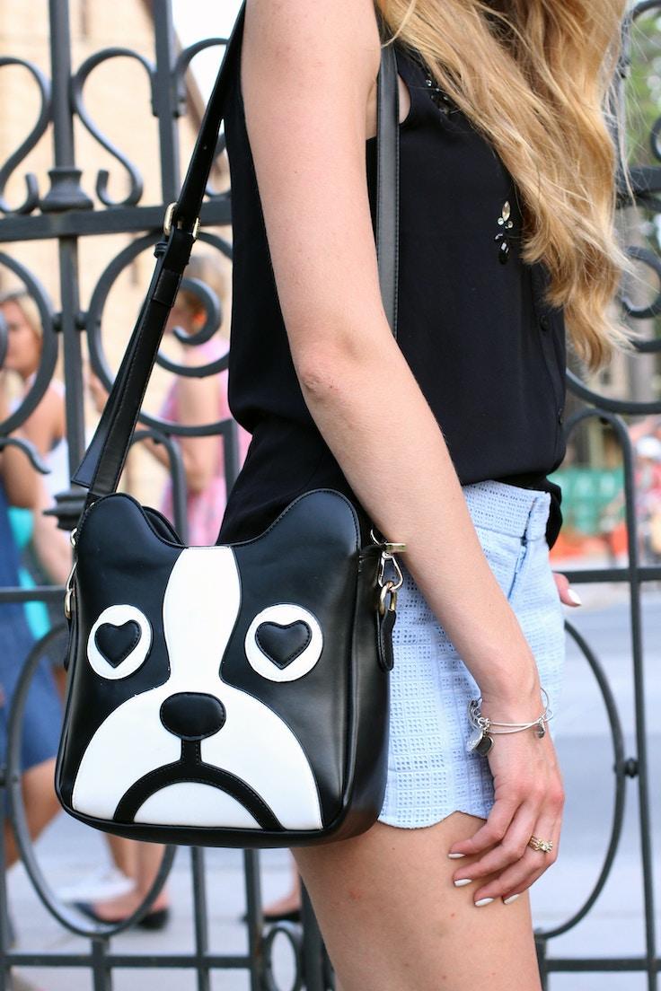 bulldog purse scalloped shorts
