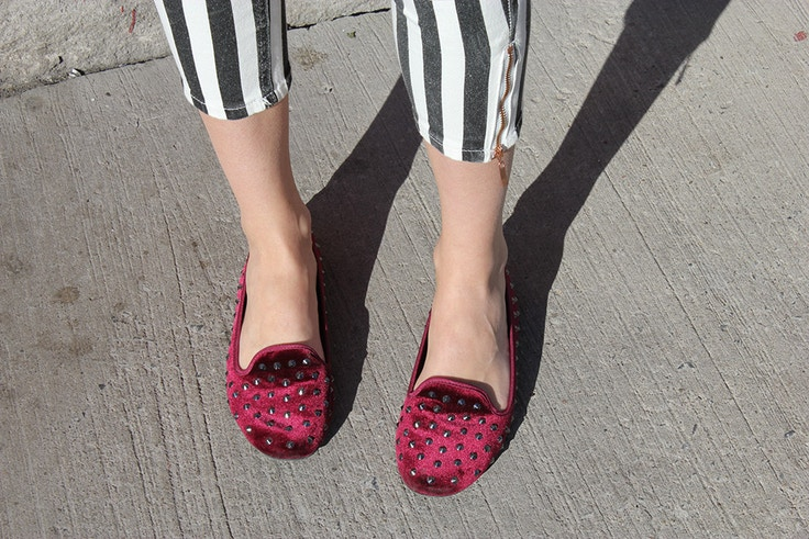 burgundy smoking slippers